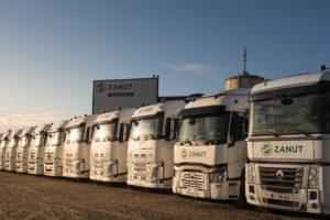 Flotte des camions à l'entreprise Zanut à Tonneins
